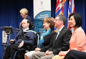 An exciting announcement: (l-r) CanAssist's Robin Syme and Luke Melchior; Premier Christy Clark; UVic President David Turpin; and MLA Ida Chong.