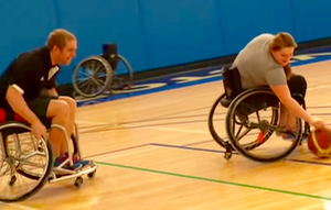 Wheelchair basketball in the Fieldhouse.