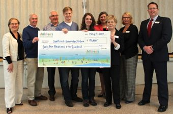 Staff and board members of Children's Health Foundation present cheque to TeenWork staff.
