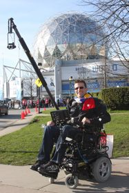 Cory uses the Arrow to demonstrate CanAssist's Polecam technology during the 2010 Olympics.