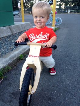 Taking his new bike out for a spin.