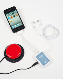 The iPod, headphones and a red accessibility switch are connected to Hook.