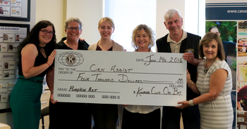CanAssist staff recives a big cheque from Kiwanis.