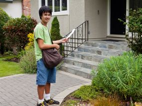 TeenWork participant Leo works part-time delivering flyers.