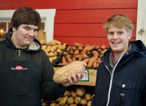 Nick (left) at the Red Barn Market, with Hamish Black, TeenWork's program manager.