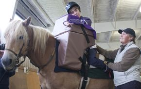 Thanks to Norgaard funding, Whitney is using a saddle support that helps her gain many therapeutic benefits.