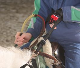 The adapted strap clips securely to the reins. Velcro around the wrist allows for an easy disconnection.
