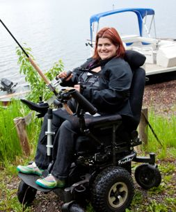 Emily is delighted to be able to fish independently.