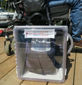 The water-resistant enclosure keeps the ventilator dry while on a sailboat.